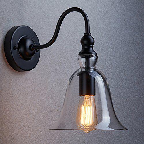Ecopower Vintage Wall Mount Lighting 1 Light Glass Bell Shade Wall