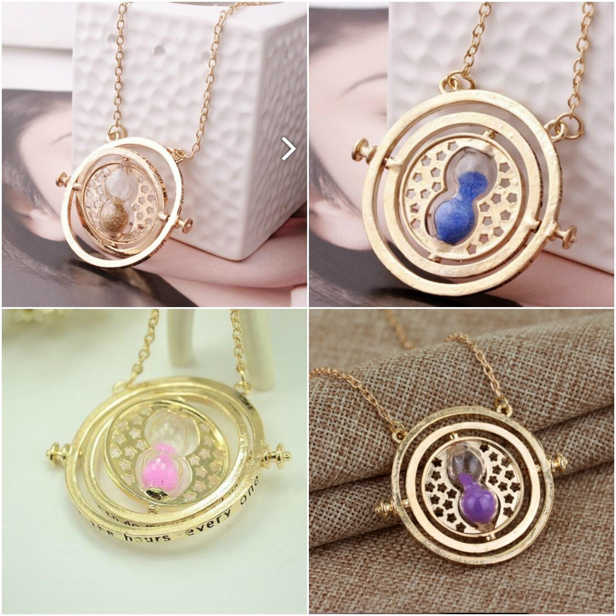 Harry Potter Inspired Time Turner Necklace With Hourglass And Sand