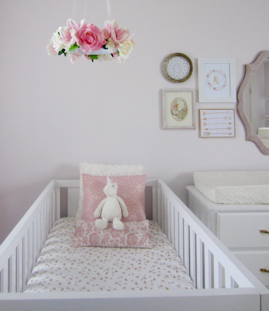 Pink, White and Gold Twin Nursery | Flower mobile, Twin nurseries ...
