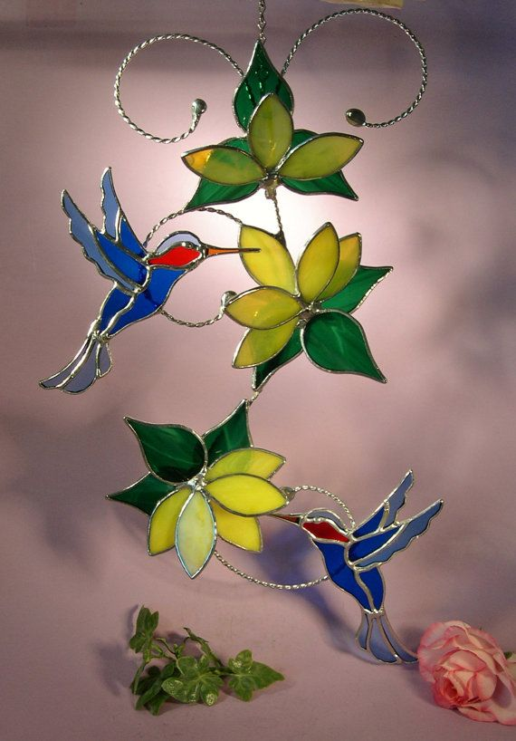 Stained Glass Hummingbirds with Flowers by StainedGlassbyWalter
