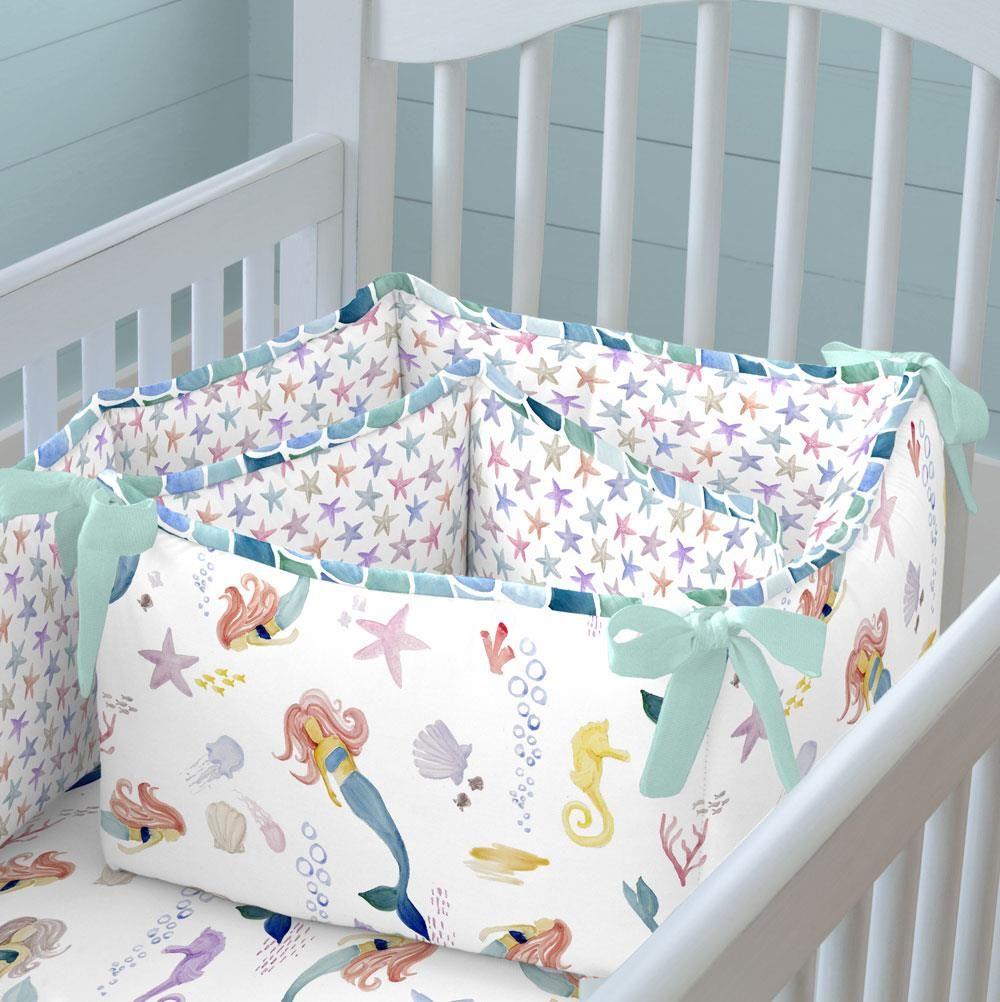 Watercolor Mermaids Crib Bumper Mermaid Crib Bedding Beach Crib Bedding Crib Bedding