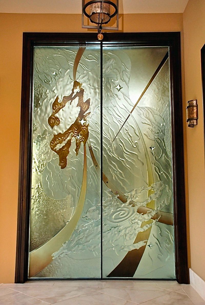 Custom glass art sculptures countertops doors wall art and