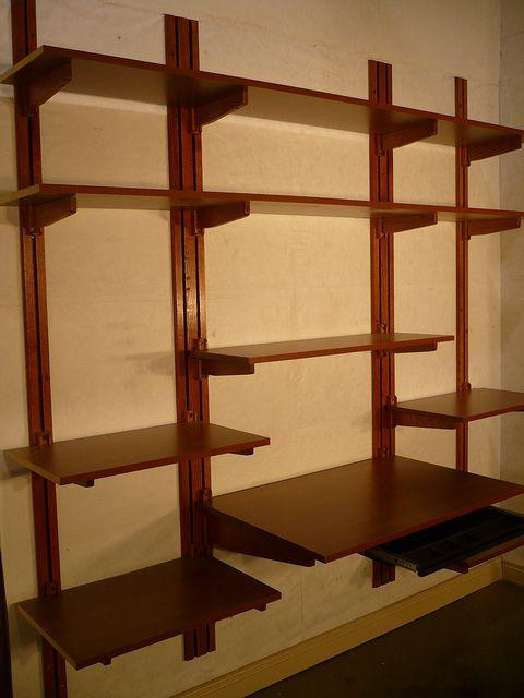 Office Shelving Cherry Mahogany Finish Wall Mounted Shelves