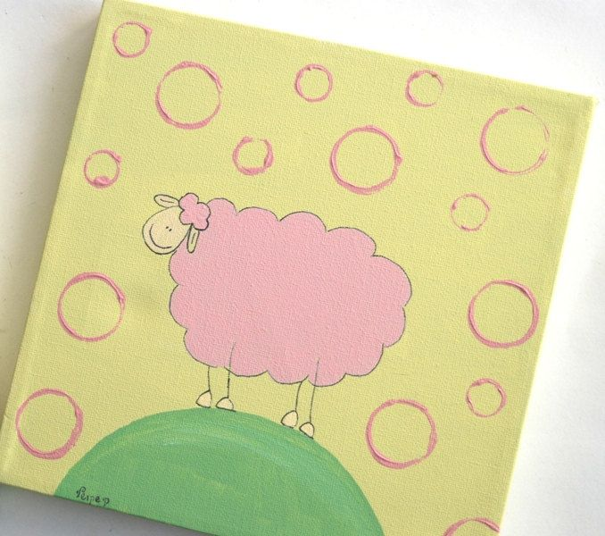 Kids wall art- Pink Sheep -Set of two Yellow and pink sheep for ...