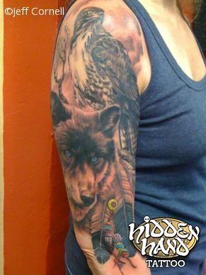 Wolf And Eagle 3 4 Sleeve Hidden Hand Tattoo Seattle Wa Indian Tattoo Daddy Tattoos Tattoos