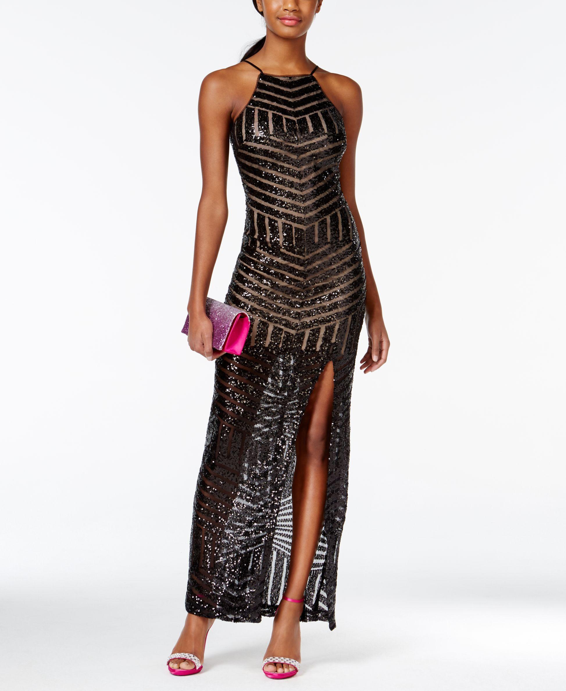 Teeze me juniorsu sequin bodycon gown with side slit dresses