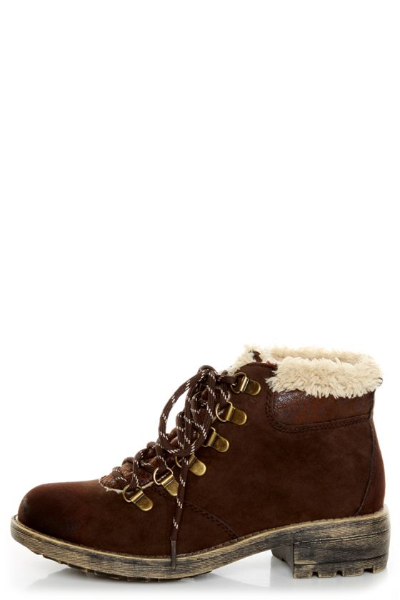 4c113950f25 Rocket Dog Timber Chocolate Brown Faux Fur-Trimmed Hiking Boots ...