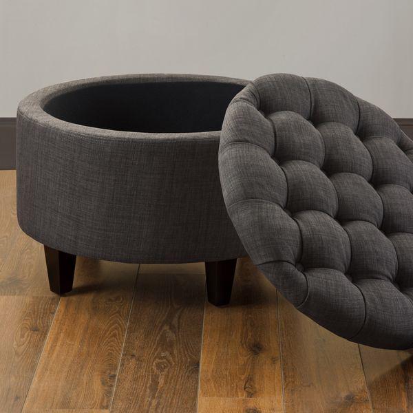 Sasha Dum Dum Charcoal Ottoman (Charcoal), Grey (Fabric) | Otomanas ...