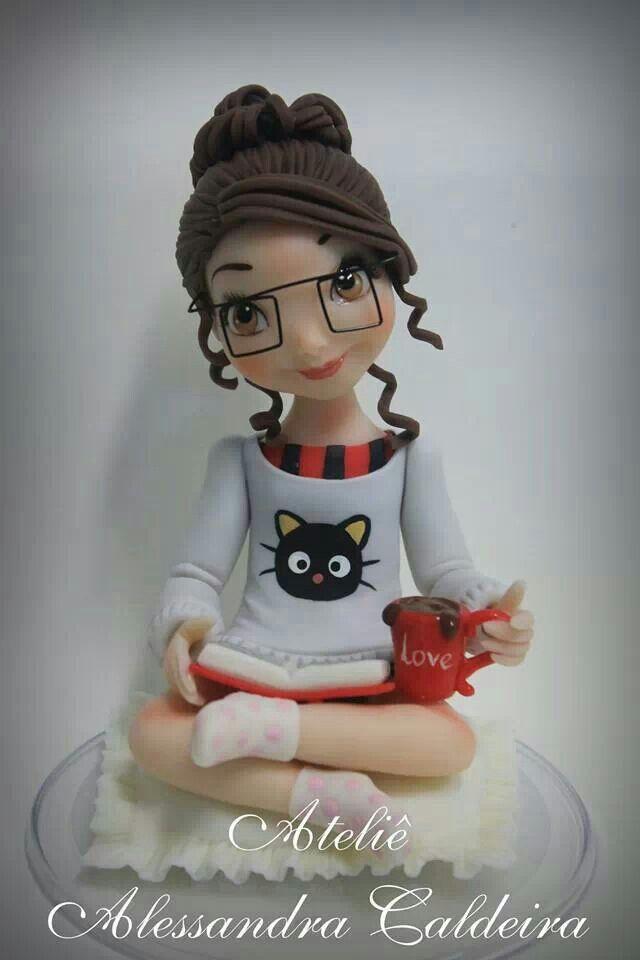 Polymer Clay Reading Girl Figurine Idea  Craft Sites Clay -4761