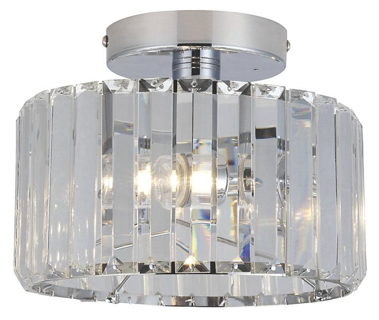 Pereti Chrome Effect 2 Lamp Bathroom Ceiling Light Toilet Bathroom Ceiling Light Ceiling Lights Flush Ceiling Lights
