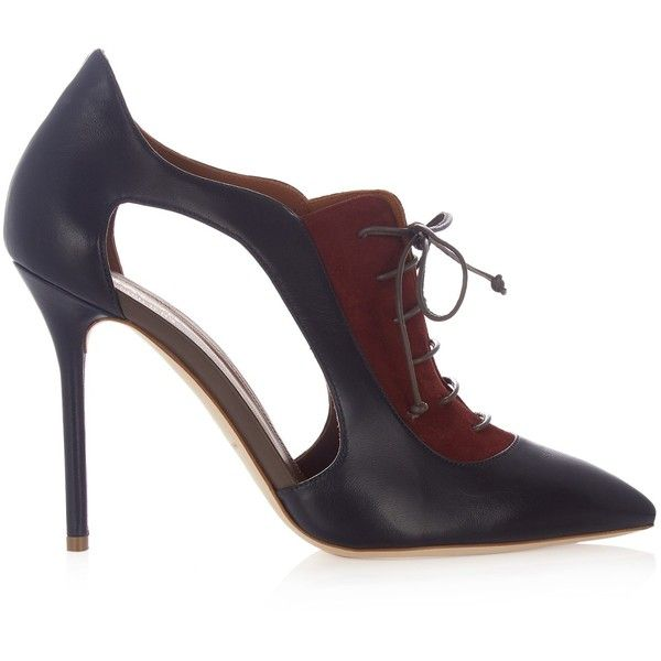 Malone Souliers Lorraine leather and suede ankle boots (€550) ❤ liked on Polyvore featuring shoes, boots, ankle booties, navy multi, lace-up ankle boots, navy booties, lace up boots, leather ankle boots and suede ankle booties