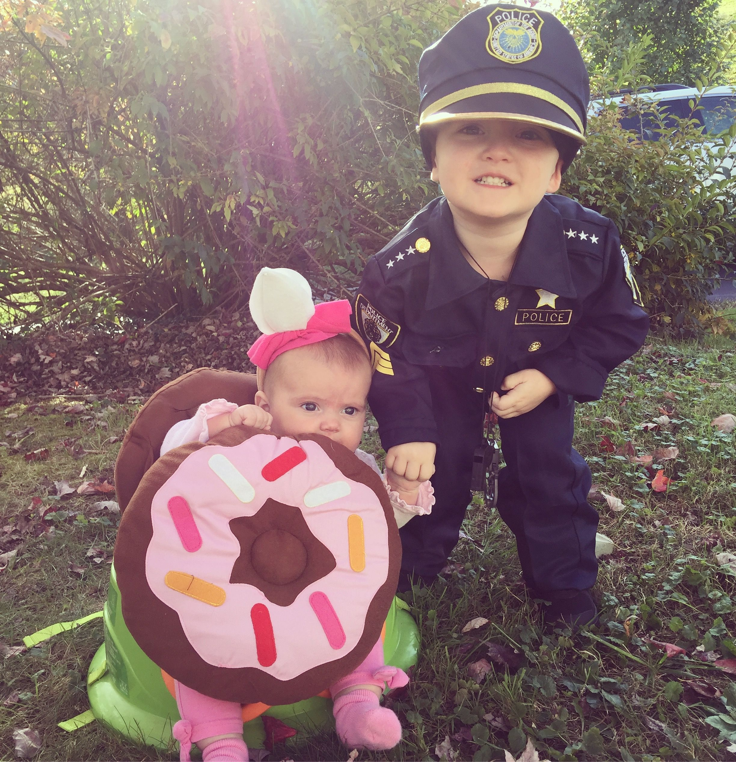 A Cop And His Donut Siblings Costume Halloween Fall