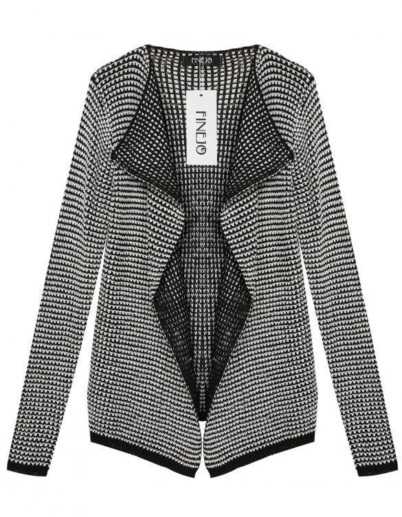 Finejo Korean Women Fashion Lady Stripe Knitwear Cardigan Sweater Coat Outerwear_Sweaters / Cardigans_Women_Women's Fashion Zone & Best Price Clothes