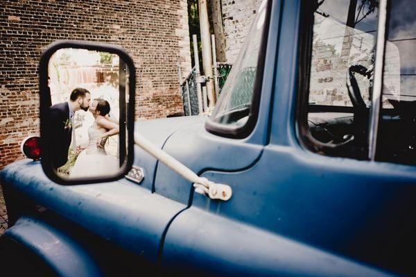 In the mirror of the limo/get-away-car :)