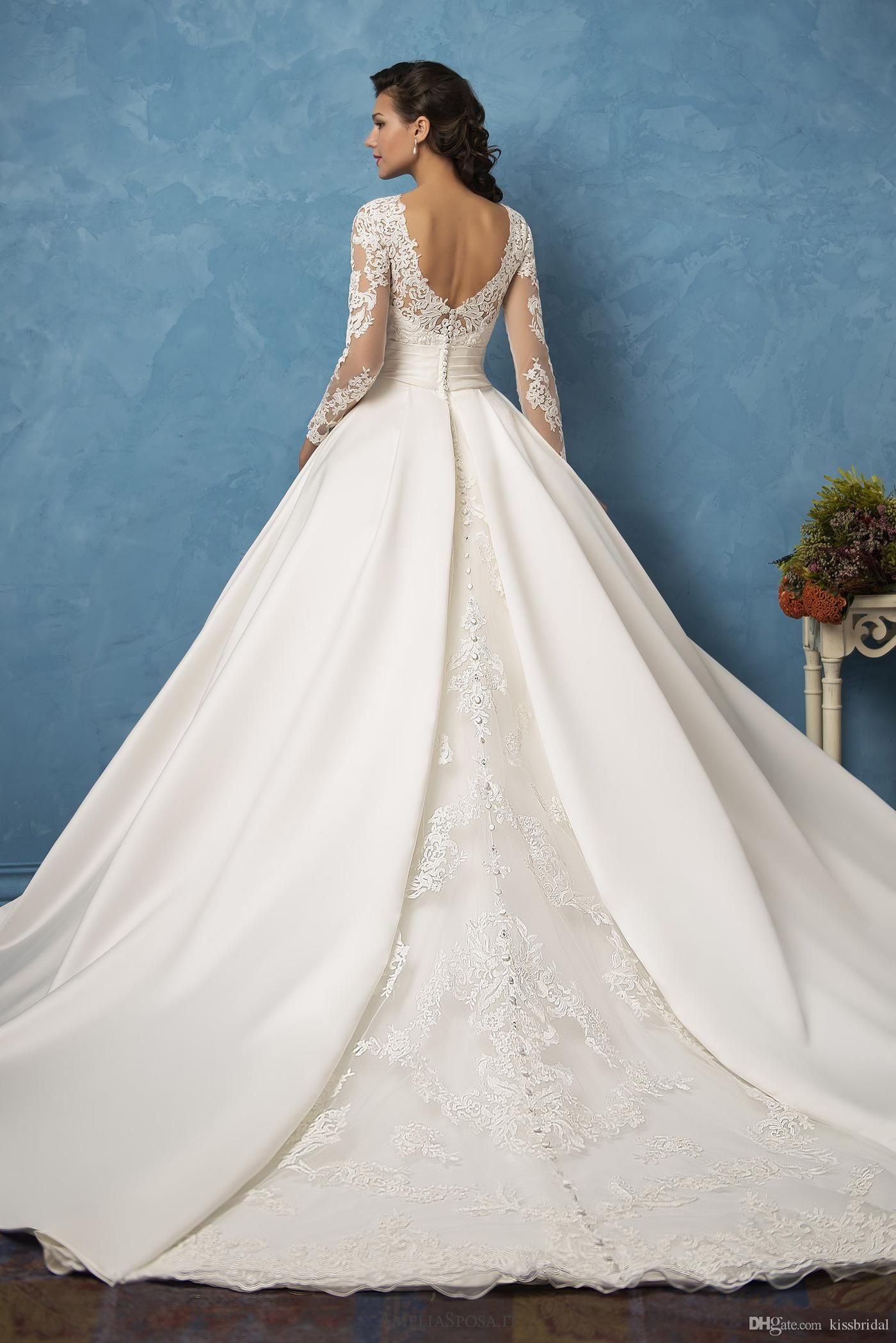 34++ Satin wedding dress with long sleeves information