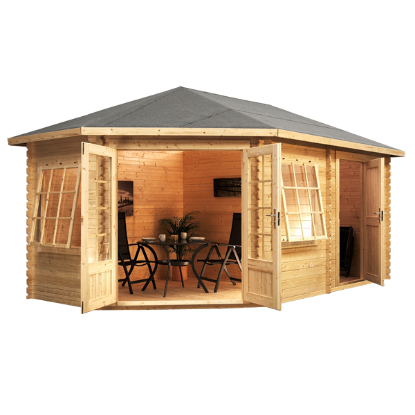 Garden Sheds 5m X 3m 5m x 3m waltons left sided lodge plus corner log cabin | corner