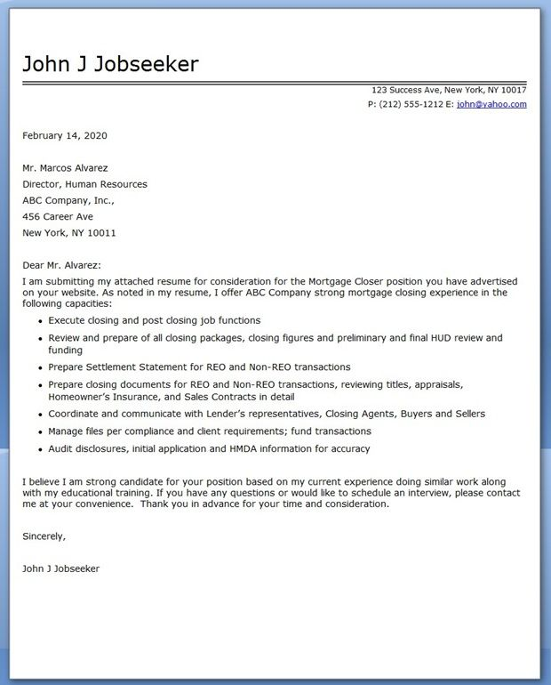 cover letter for mortgage closer
