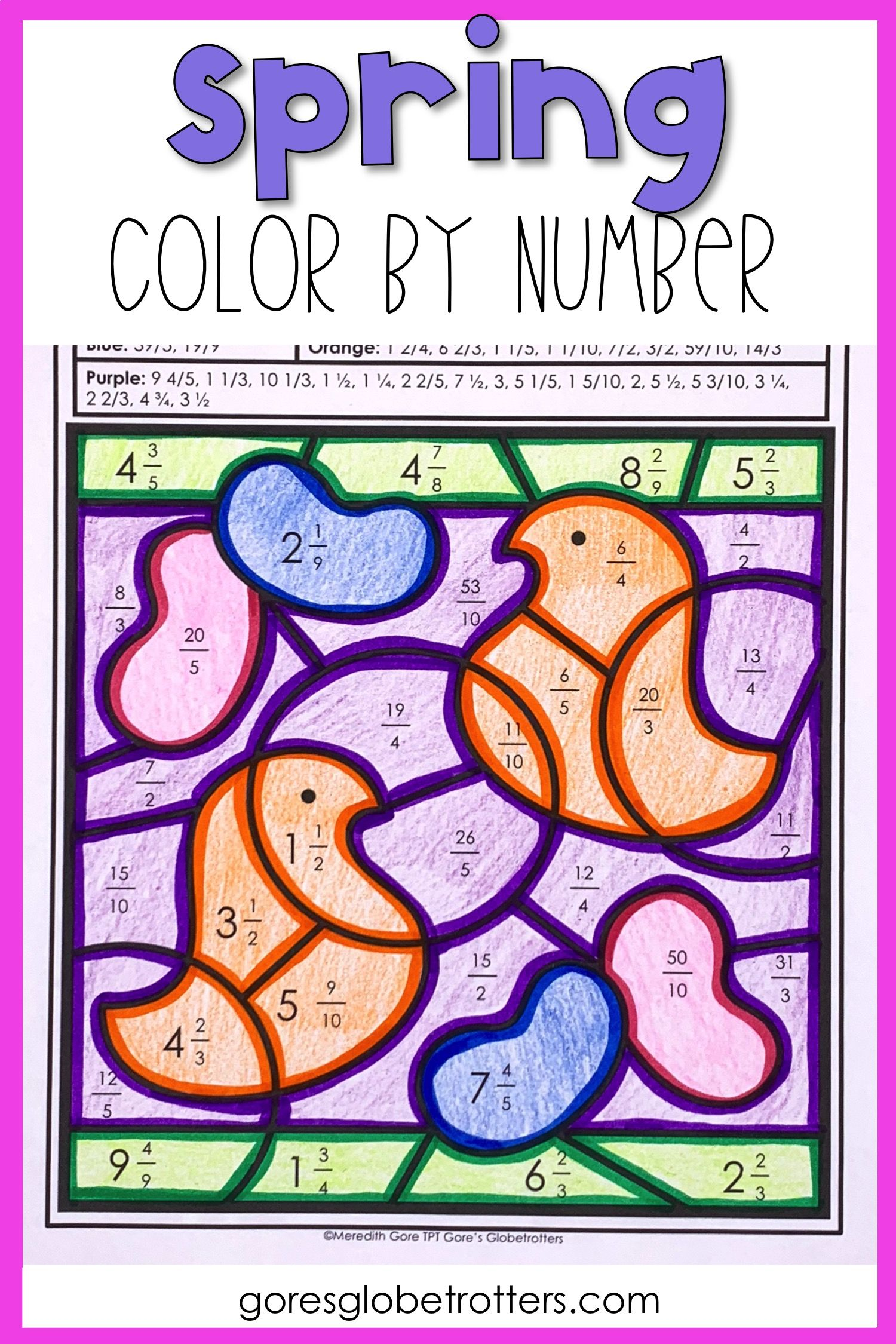 Spring Math Color By Number Differentiated Fractions