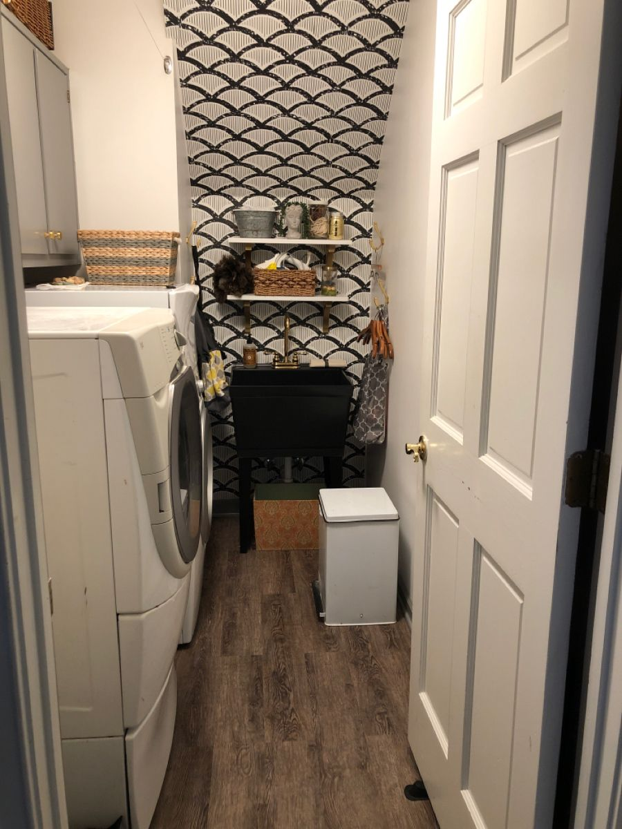 My Laundry Room After Pic Laundry Room Painting Cabinets Accent Wallpaper Paint my laundry room