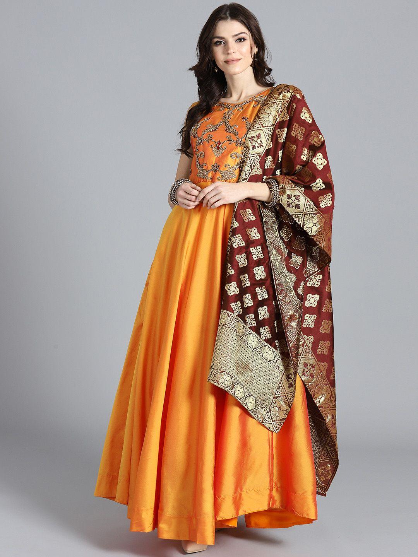 f0cc845119 Chhabra 555 Orange & Maroon Art Silk Anarkali Kurta with Churidar & Dupatta  #Orange #Maroon #Party #Artsilk #Sleeveless