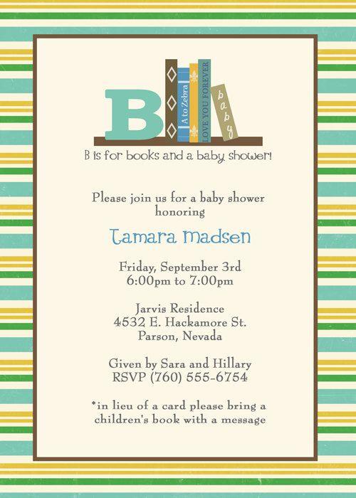 Bring A Book Baby Shower Invite Boy Invitation