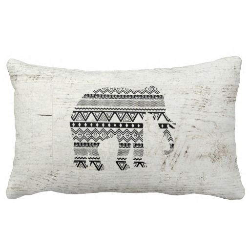 Aztec Tribal Elephant Black White Vintage Wood Pillow