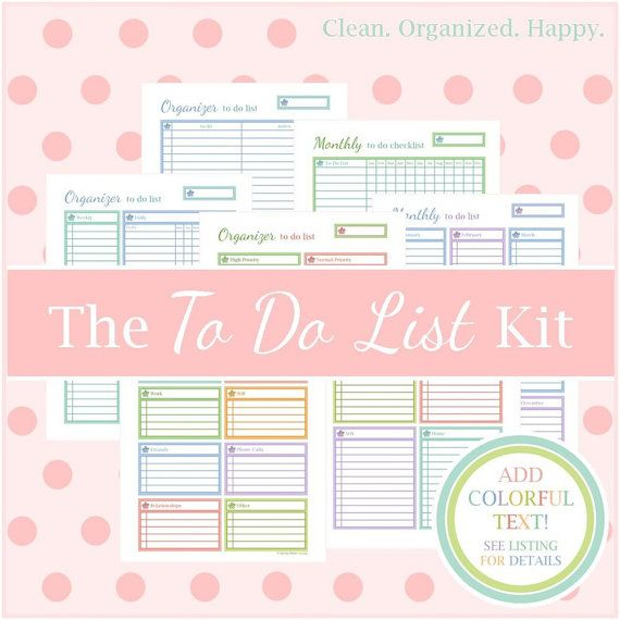 The TO DO LIST Kit, Printable Planner, To Do List