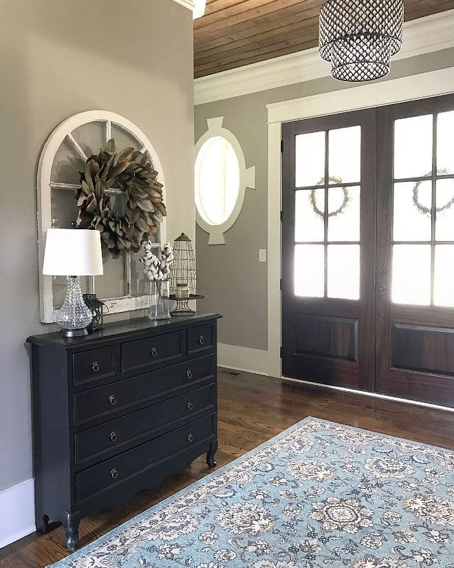 Amazing Foyer Love The Dark And White Wood Together: Paint Colors Sherwin Williams Amazing Gray SW 7044 Foyer