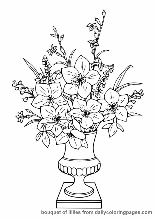 Colour Flower Coloring Pages Flower Coloring Sheets Flower Vase Drawing