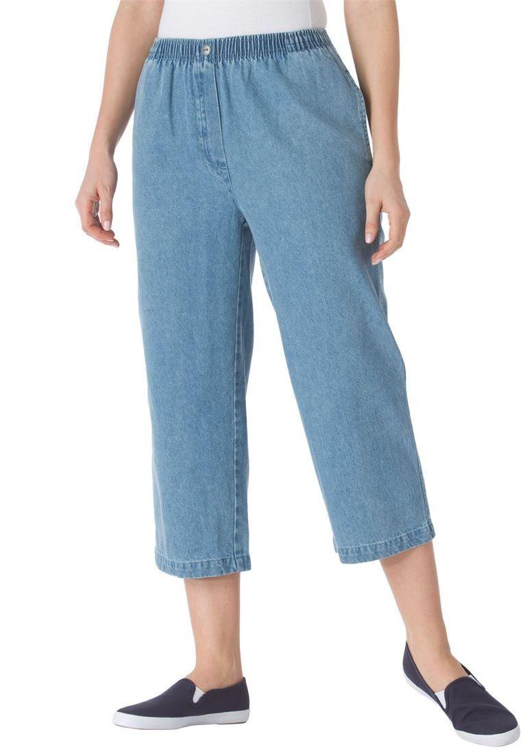 Women's Plus Size Petite Jean Capris Light Stonewash,22 Wp. wide ...