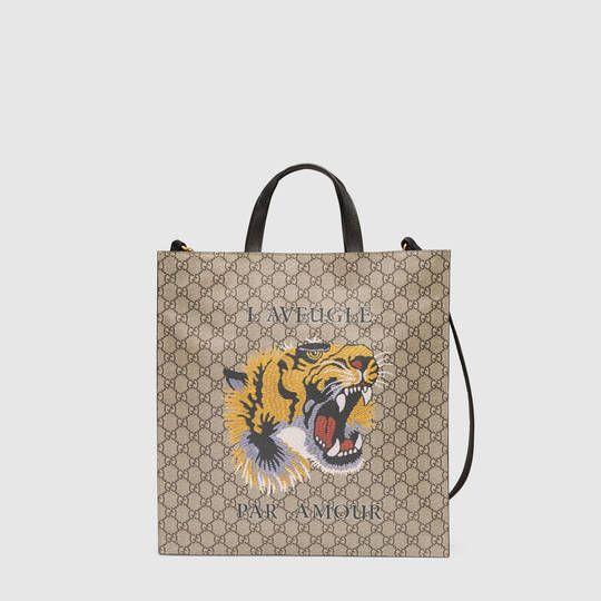 b6317abd10e1 Gucci Tiger print soft GG Supreme tote