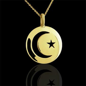 Crescent moon and star google search jewelry pinterest gold yellow gold islam crescent moon and star cut out disc pendant aloadofball Choice Image