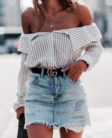 Off shoulder stripes, denim skirt and Gucci belt
