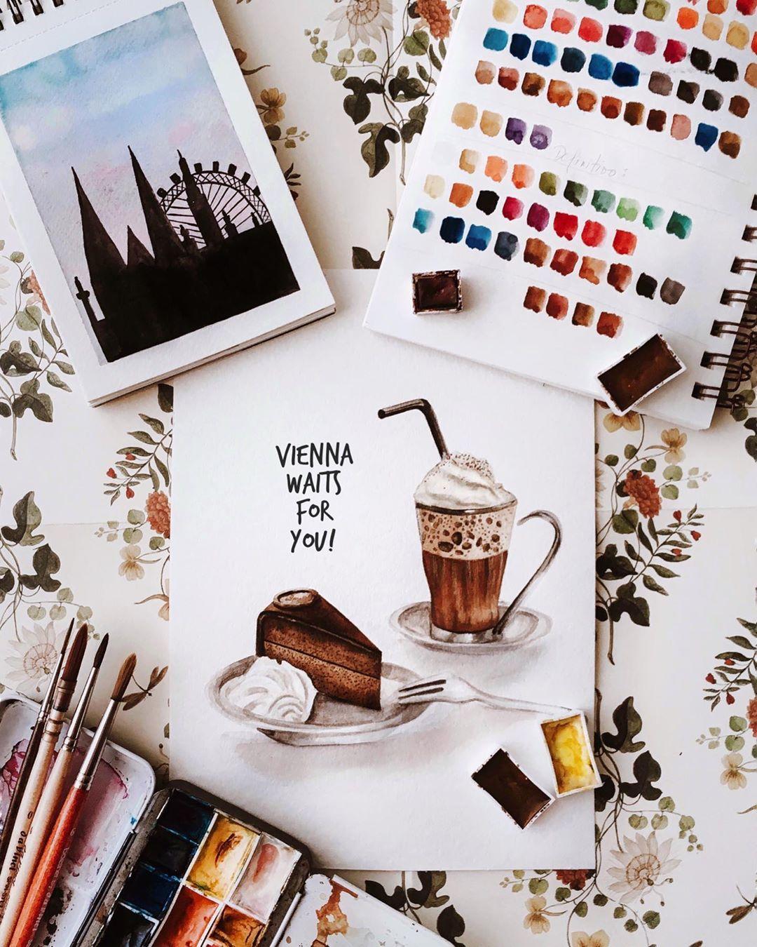 """Julia on Instagram: """"Tengo que admitir que pintando esto me entró mucha hambre Jajajaja y que conste que yo no tomo café y la famosa torta Sacher pues  tampoco…"""""""