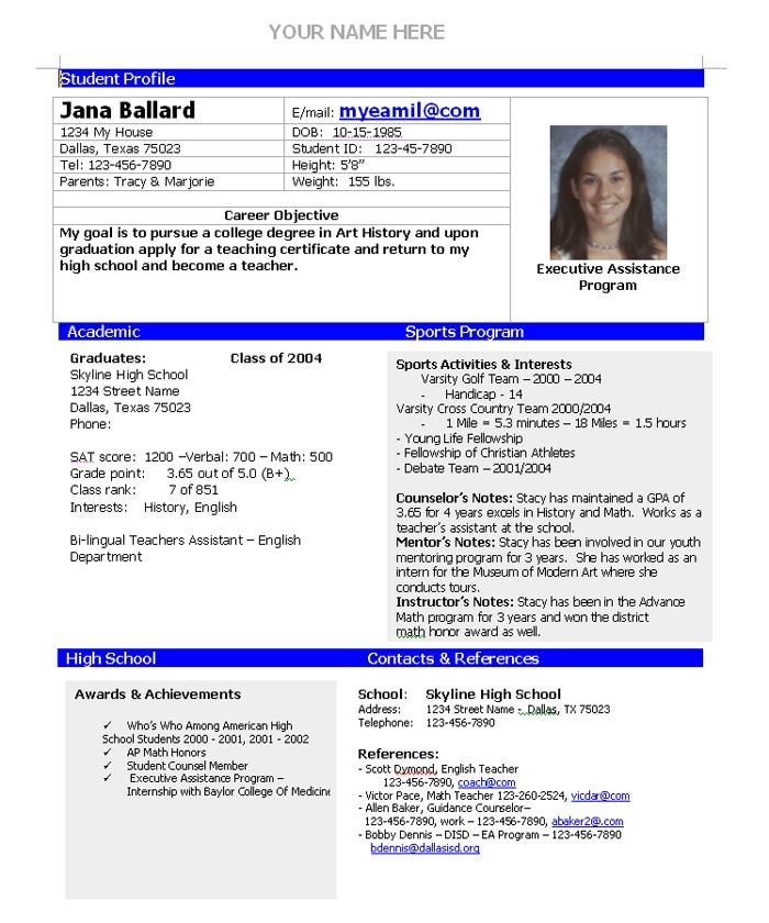 College Admission Resume Template  Home College Planning  College