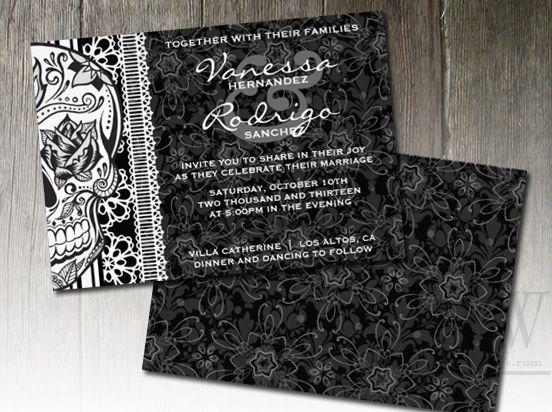 Black and White Sugar Skull Wedding Invitations wedding ideas