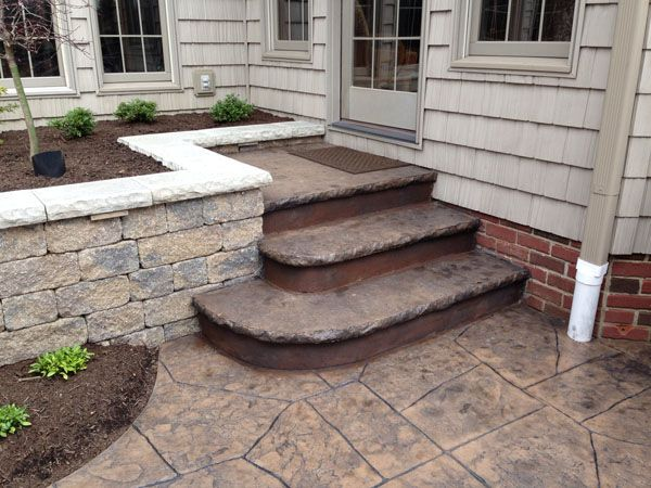 Concrete Stamping Steps | Concrete Steps To Match Stamped Concrete Patio