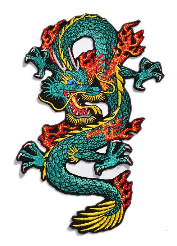 Large Green//Red Chinese Dragon Right Iron on Applique//Embroidered Patch