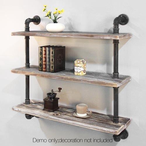 3 level rustic bookshelf industrial pipe and wood shelf vintage look wall storage