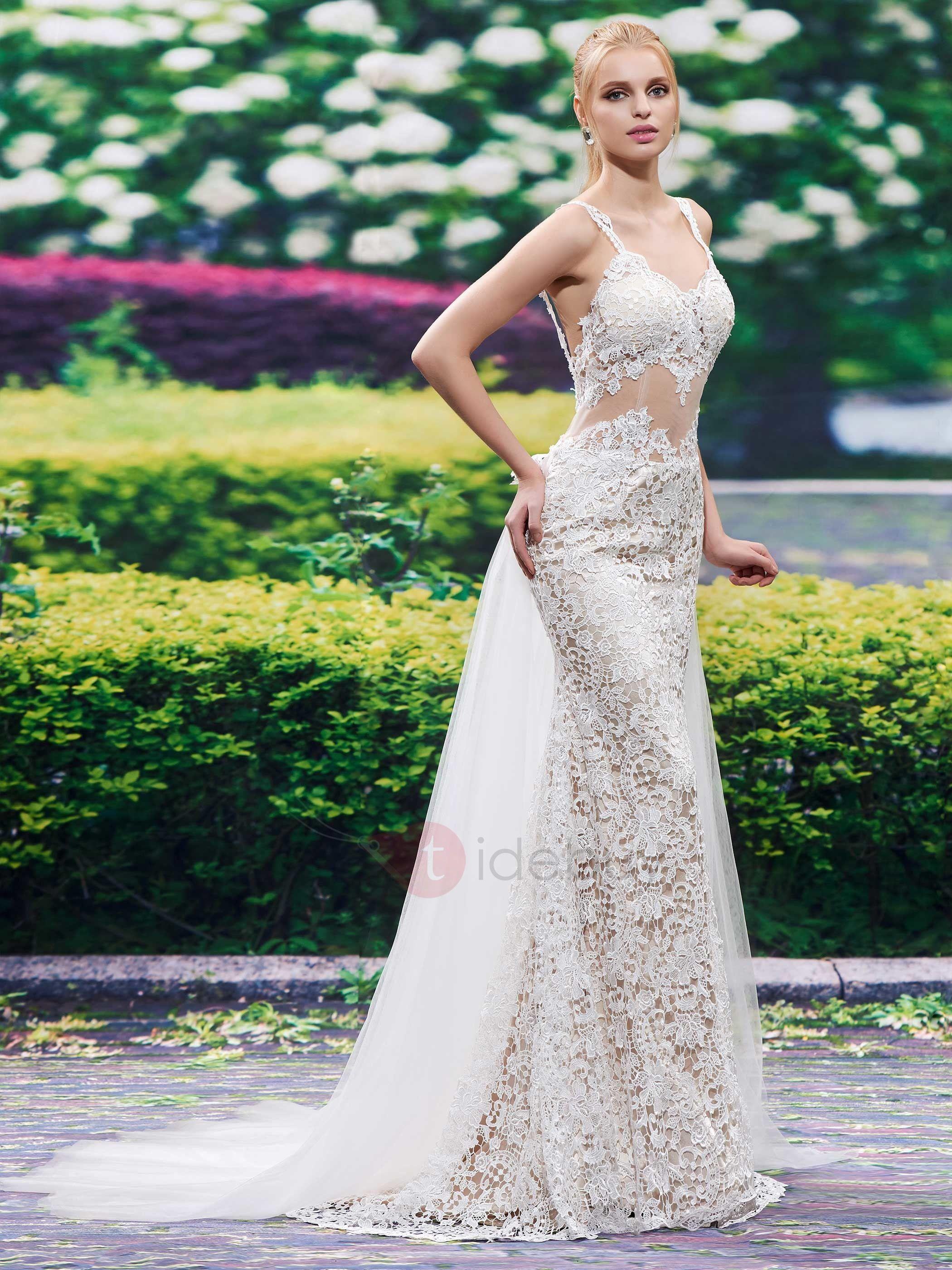 Sexy Straps Watteau Train Lace Backless Wedding Dress | Pinterest