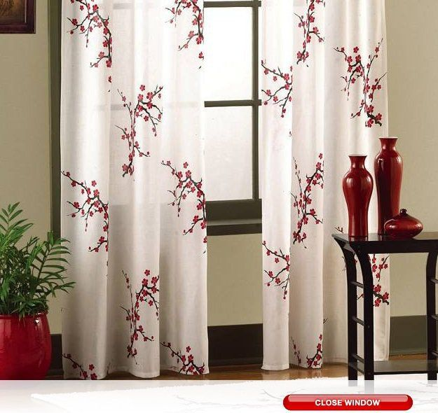 Asian Cherry Blossom Red Floral Window Curtain Panel Pair