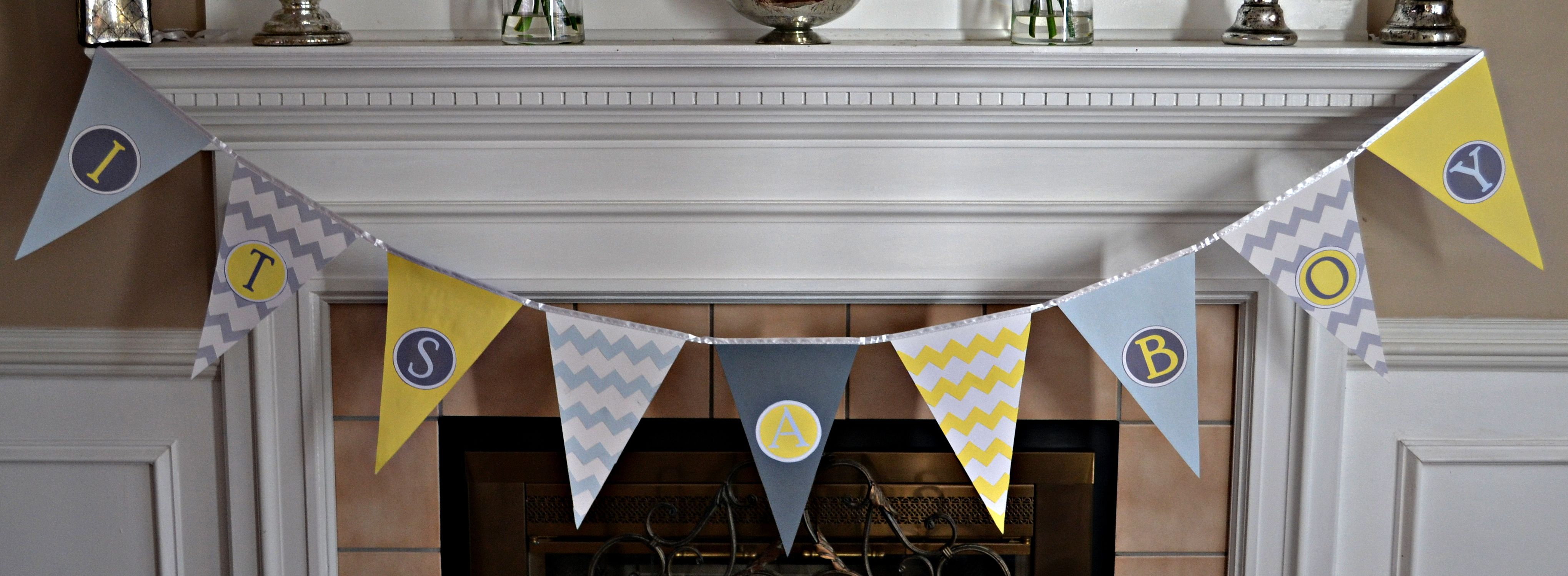 Diy baby shower pennant banner craft corner pinterest diy baby