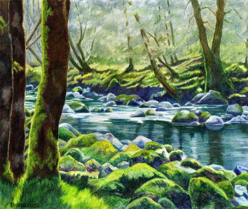 River landscapes colored pencil google search art for Landscape drawing ideas