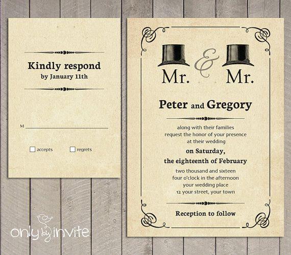 mr and mr gay wedding invitation printable vintage hats same sex wedding invitations civil - Same Sex Wedding Invitations