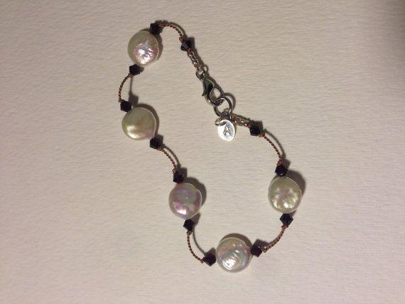 Custom Freshwater Coin Pearl bracelet with by AugustKisselJewelry