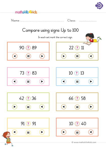 Compare Using Signs Up To 100 1st Grade Worksheets Comparing Numbers Worksheet Preschool Learning Activities