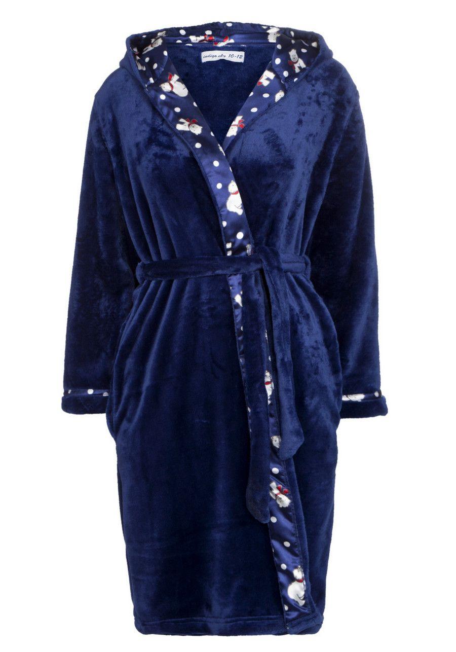 ef8c691079 Indigo sky polar bear trim fleece dressing gown (Tesco).