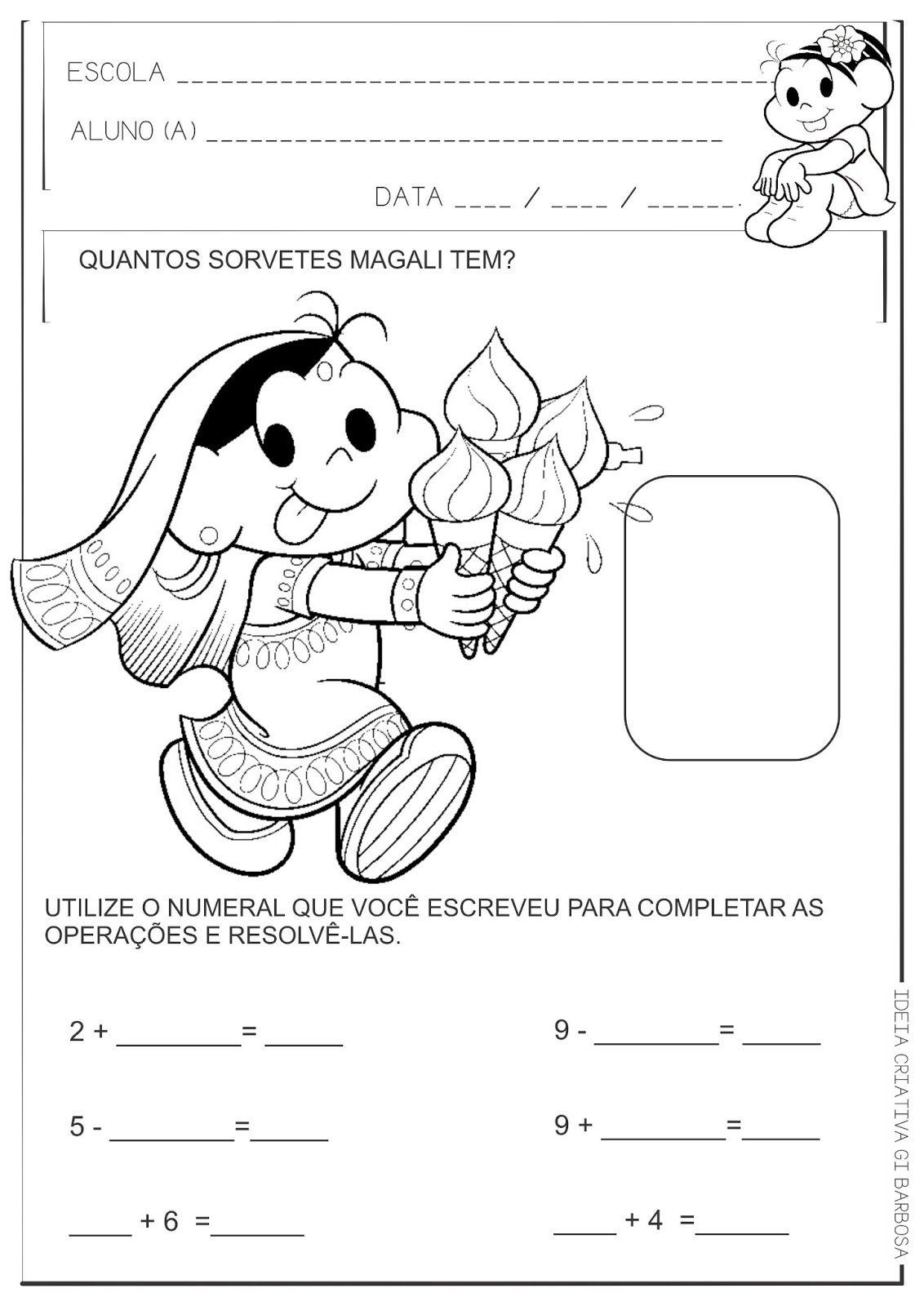 Atividade Adicao E Subtracao Magali Turma Da Monica Com Imagens