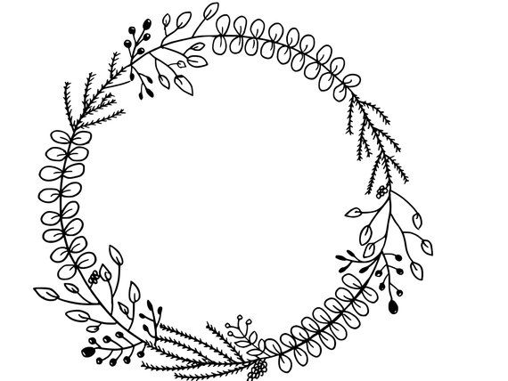 Black And White Hand Drawn Floral Wreath Printable Instant Digital