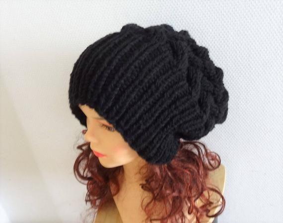 ac012b10a62 Unisex Knit Slouchy Hat Beanie black Womens Hat Oversized Slouchy Beanie  super slouchy hat knit cable hat big men hat chunky hat Colors